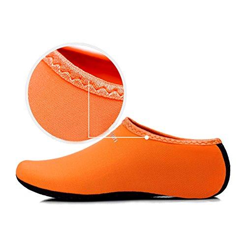 ACQUA calzini piedi nudi pelle scarpe spiaggia surf immersione CASA Pantofole PISCINA NUOTO YOGA Calzini per uomini donne - Arancione, 39-41 UK 5.5-7