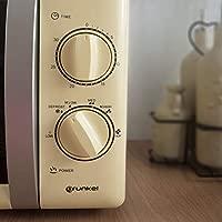 Grunkel MW-20CF - Microondas de Diseño Vintage 700W, 6 Niveles de Potencia, Función Descongelación y Temporizador, 20L, color Crema