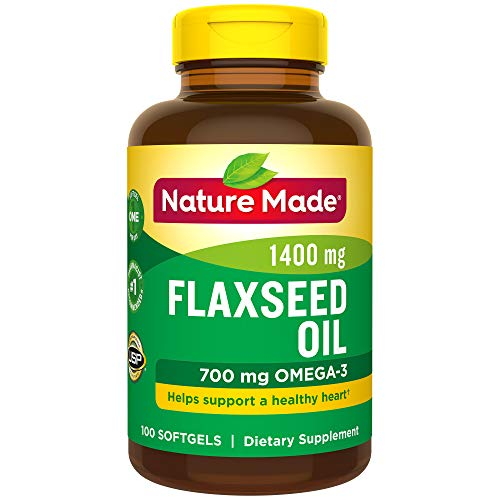 Nature Made Flaxseed Oil 1,400 mg Softgels, 100 Count for Heart Health† (Packaging May Vary)