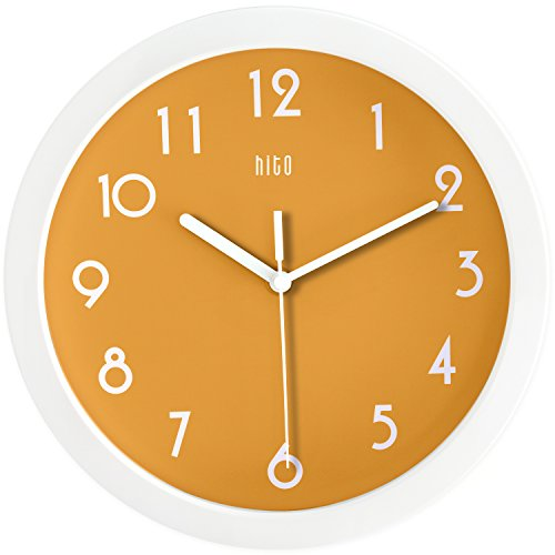 hito Modern Colorful Silent Non-ticking Wall Clock- 10 Inches (Orange)