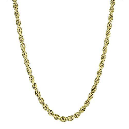 14K Yellow Gold 2.5mm Hollow Twist Rope Chain Necklace for Men and Women, 24 Inches by Hoops & Loops