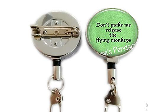 Don't Make me Release The Flying Monkeys - Wizard of Oz Pendant - Wizard of Oz Necklace,Retractable Badge Holder Carabiner Reel Clip On ID Card Holders ()