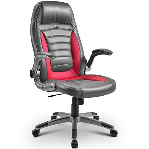 Merax Red Office Chair Ergonomic Executive Chair High-Back Computer Chair Height Adjustment Gaming Recliner Chair Support 300Lb Modern Desk Chair Women/Men