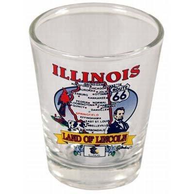 Illinois State Elements Map Shot Glass