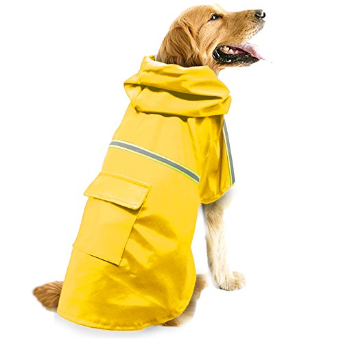 Dog Raincoat Leisure Waterproof Lightweight Dog Coat Jacket Reflective Rain Jacket with Hood for Small Medium Large Dogs(Yellow,XL)