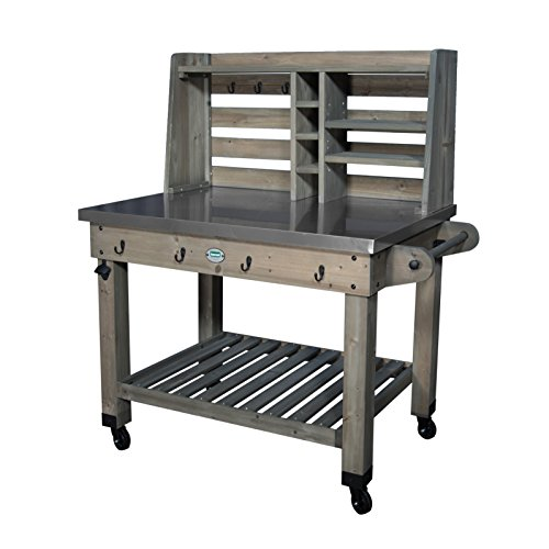 Patio Table Grill (Backyard Discovery Patio Serving Cart, Barn Stain)