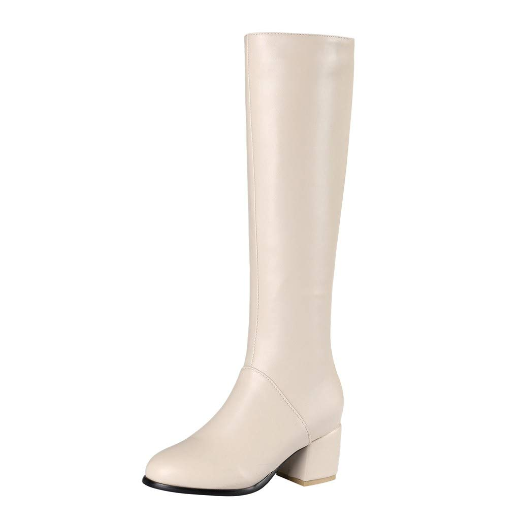 Fheaven Women's Fashion Winter Warm Boots Side Zip Round Toe Block Heel High Heels Knee High Booties Beige by Fheaven-shoes