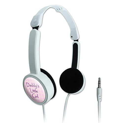 Novelty Travel Portable On-Ear Foldable Headphones Sweetest Best - Daddy's Little Girl Pink with Flowers