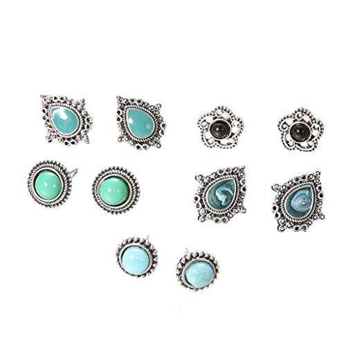 Gahrchian 5 Pairs Turquoise Gemstone Stud Set Bohemian Retro Round Waterdrop Opal Stud Earrings For Mother's Day Gift