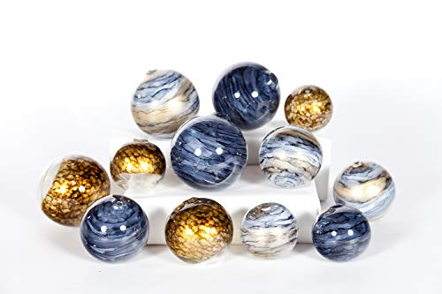 Decorative Glass Balls (Knox and Harrison Set of 12 Decorative Hand Blown Glass Spheres)