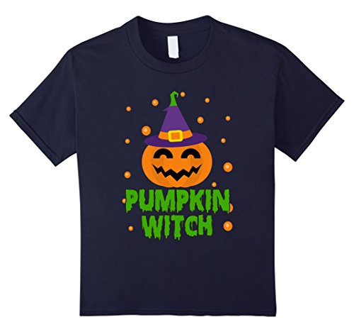 Scary Spice Girl Costume (Kids Pumpkin Witch Halloween Scary Costume T-Shirt 12 Navy)