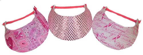 (3 Pack Foam Coil Visor Heart Print / Pink Sequin Glitter/ Inspirational Words)