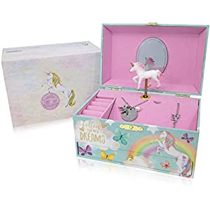 The Memory Building Company Unicorn Music Box & Little Girls Jewelry Set – 3 Unicorn Gifts for Girls