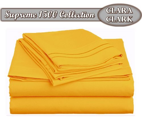Clara Clark Supreme 1500 Collection 4pc Bed Sheet Set - Queen Size, Yellow (Cheap Nice Comforter Sets)
