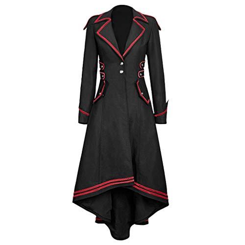 DONTAL Women Gothic Long Jacket Swallowtail Coat Vintage Medieval Outfits Steampunk Tuxedo Black