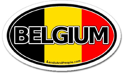 LandsAndPeople Belgium Flag Car Bumper Sticker Decal Oval