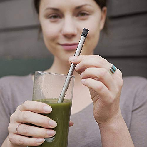 FlipSip Straw - Reusable, Collapsible, Stainless Steel Metal Drinking Straw w/Hard storage Case and Cleaning Brush by FlipSip Straw (Image #4)