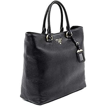 14a9d3998928 Amazon.com  Prada Vitello Phenix Black Leather Shopping Tote Handbag ...