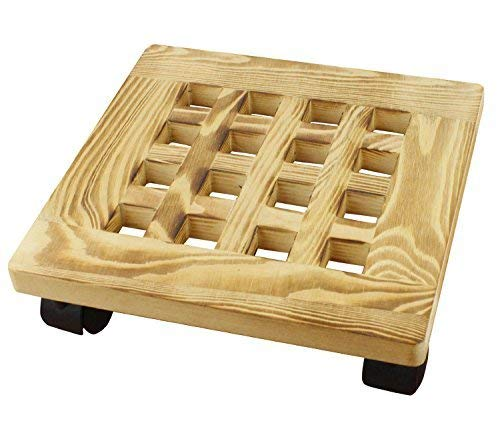 - Yeme Pine Wood Square Plant Dolly / Caddy Plant Stand with Roller, 10