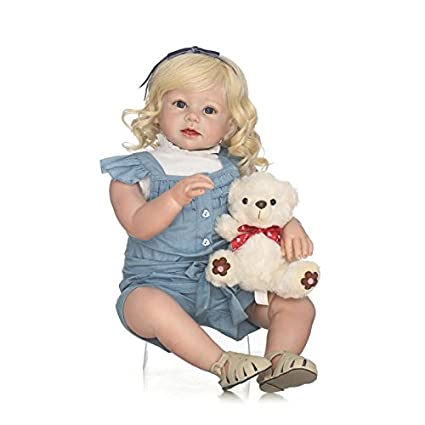 Amazon.com  MaiDe 70cm Lifelike Reborn Baby Realistic Soft Silicone Toddler  Girl Dolls Long Hair for Women Girls Gift  Toys   Games 73c9e082bc