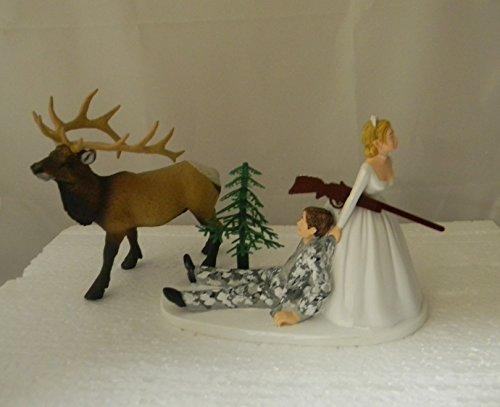 Wedding reception party Bull Elk Winter Camo Hunter Hunting Cake Topper ()