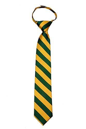 B-ZIP-JCS-ADF-1-20 - Boy's 14 inch College Striped Zipper Necktie Ties