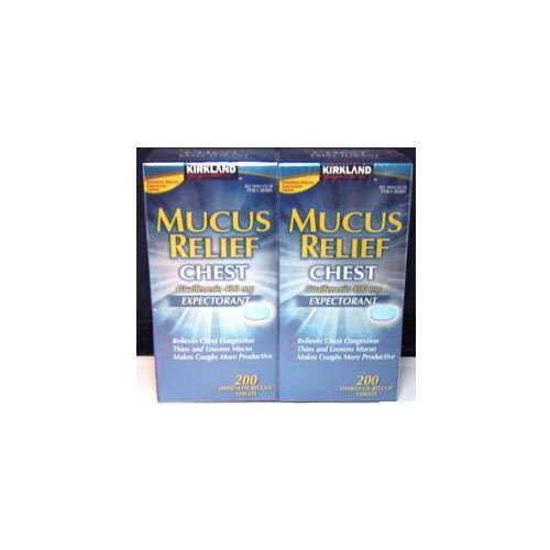 Kirkland Signature Mucus Relief Expectorant  200 Immediate Release Tablets (Pack of 2) ()