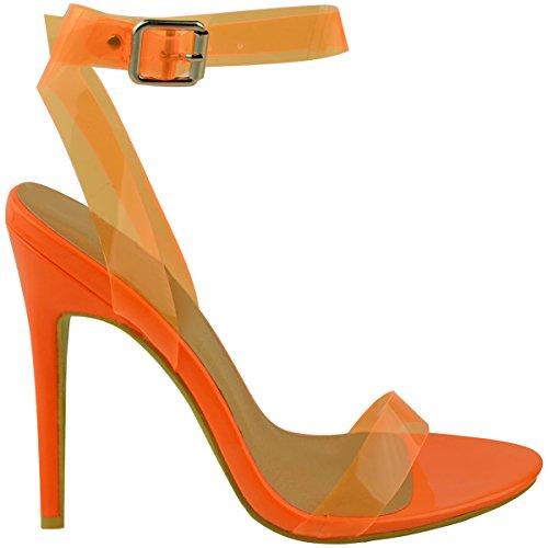 Verniciata Spillo a Arancione Perspex Taglia heelberry Sandali da Tacco Donna There Nudo Trasparente Barely Festa di Brillante Alto wwPAqv