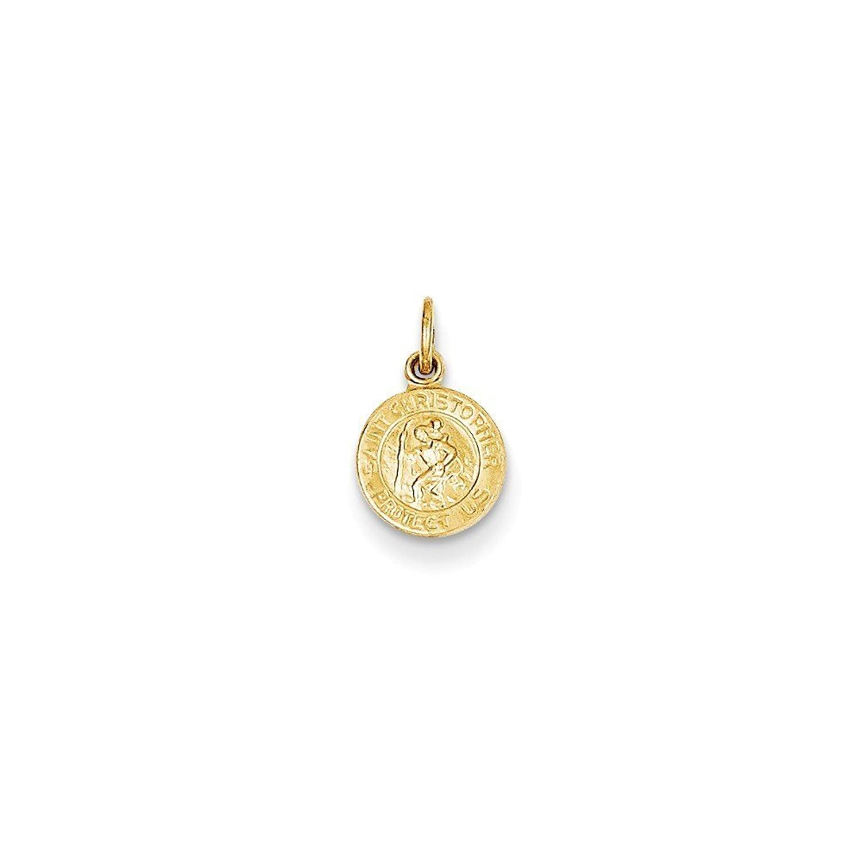 14k Gold Saint Christopher Medal Charm Pendant (0.55 in x 0.31 in)