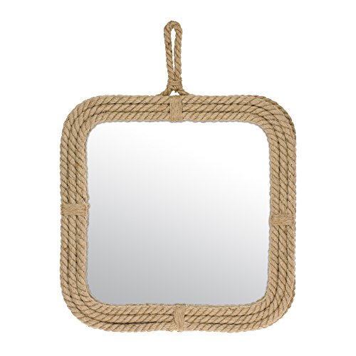 Light Wall Beveled (Stonebriar Small Square Rope Mirror for Wall, Light Weight, Rustic Decoration)