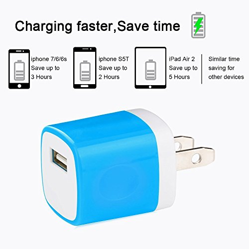 Wall Charger, 5 Pack Universal Portable USB Power Adapter Plug Outlet for iPhone 7 / 6S / Plus, iPad, Samsung Galaxy, Motorola, HTC, Other Smartphones (Family Pack) (Random Colors) Photo #4