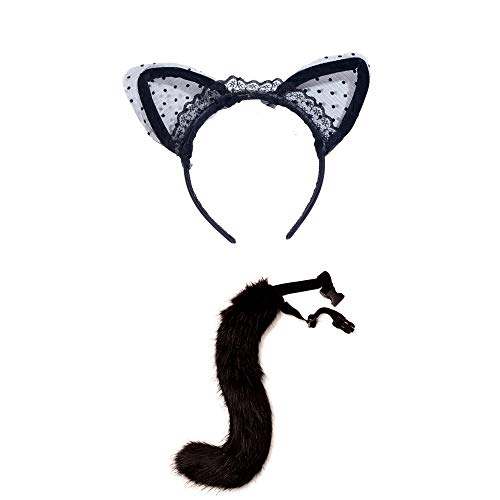 Lace Cat Ears Headband Headpiece Fox Tail Halloween Prom Nightclub Party Costume Cosplay Love Gift for Women ()