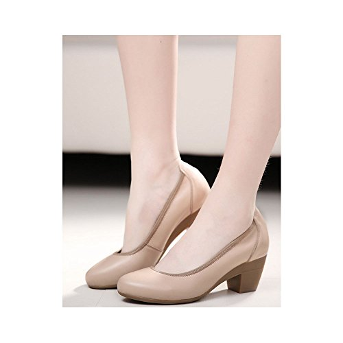 gran baja con profesional de OCHENTA boca trabajo zapatos tamaño de zapatos Cuero la Albaricoque grueso de wgqUYOqI