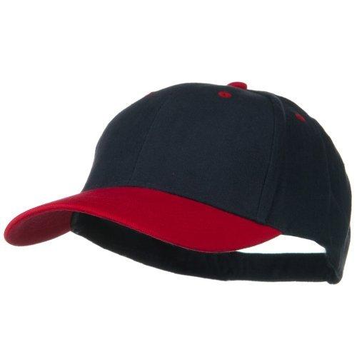 2 Tone Brushed Bull Denim Mid Profile Cap - Red Navy OSFM