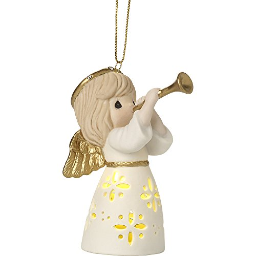 Precious Moments Make Music From The Heart LED Lighted Angel With Trumpet Bisque Porcelain Ornament 171025 ()