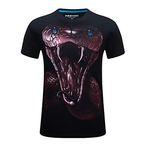 - Short Sleeve Shirts for Men, MmNote Venomous Mouth Print Cool Quick Quick-Dry Modern Fit Loose Breathable Soft Lightweight Black