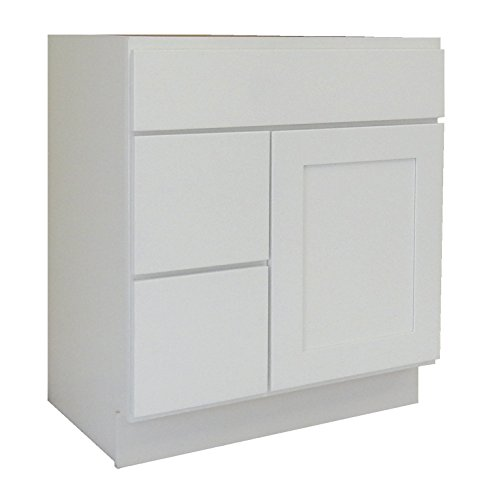 White Shaker Wood Vanity Cabinet (NGY WS-3021DL Shaker Vanity Cabinet Maple Wood, 30