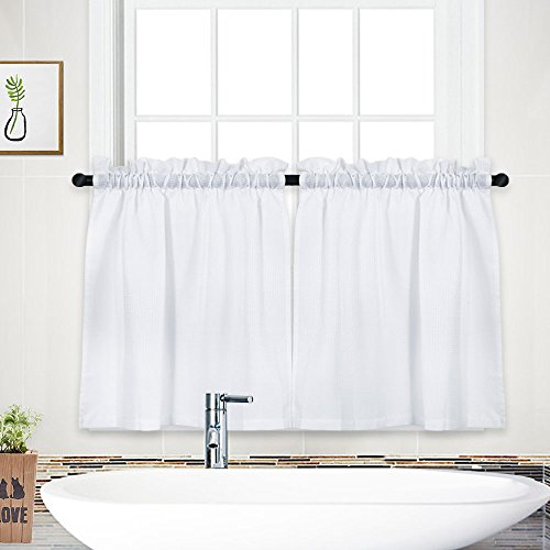 NANAN Waffle Woven Textured Short Curtains for Bathroom Waterproof Window Covering for Kitchen - 30