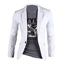 SODIAL(R) Stylish Sexy Men's Slim Fit Suit One Button Business Casual Blazer Coat Jacket White Size M=US UK XS