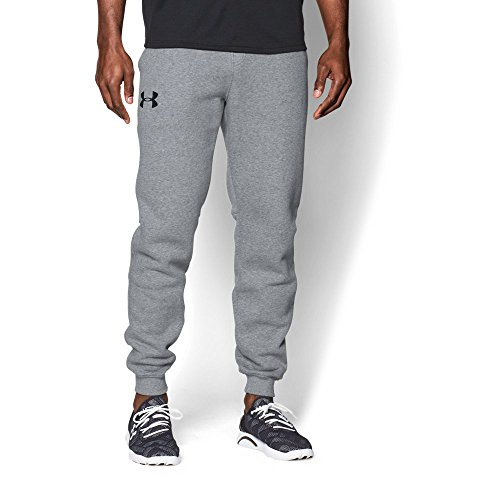 Under Armour Mens Rival Fleece Jogger Pants, True Gray Heather /Black, Small