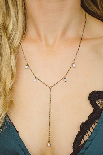 "Boho blue lace agate lariat y necklace in bronze - 18"" chain with 2"" adjustable extender"