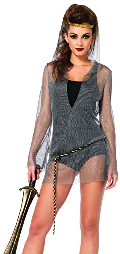 [Leg Avenue Women's 2 Piece Faux Chain Mail Hooded Dress and Rope Belt Costume, Silver, Medium/Large] (Faux Chain Hooded Costumes)