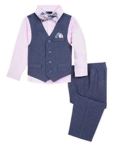 Nautica Baby Boys 4-Piece Formal Dresswear Vest Set with Bow Tie, Moody Blue, 6-9 Months