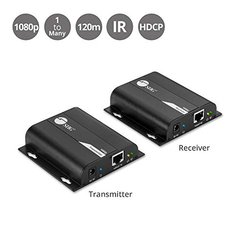 SIIG HDMI Extender Over IP Using Single Cat5e/Cat6 Cable with IR Remote Control - Full HD 1080p at 394ft (120m) - HDMI Transmitter and Receiver Kit [One to One & One to Many Connections]