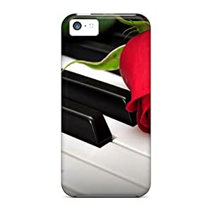 New Style ChriDD A Rose On The Piano Keys Premium Tpu Cover Case For Iphone 5c