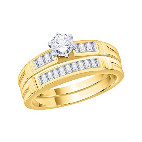 KATARINA Round and Baguette Cut Diamond Bridal Wedding Set in 10K Yellow Gold (3/4 cttw G-H, I2-I3) (Size-9.5)