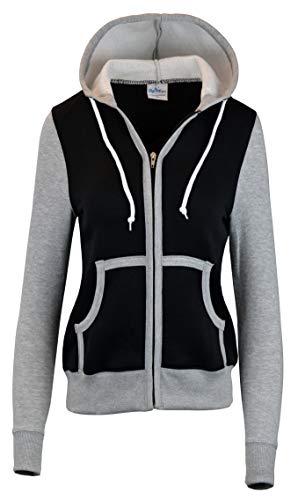 SKYLINEWEARS Women's Basic Zip Up Slim Fit Fleece Hoodie Jacket Gray Arm Black M