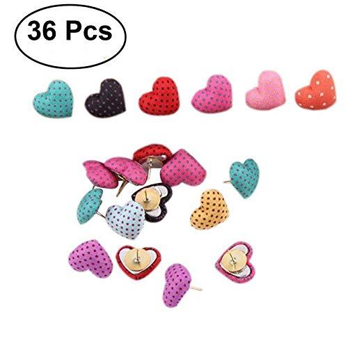 (Thumbtack Pushpin - 36pcs Polka Dots Heart Shape Pushpin Thumbtack Pins Decorative Diy And Office Use Random Color - Heart Card Ear Office Wall Kawaii School Paper Pushpin Tack School Note)
