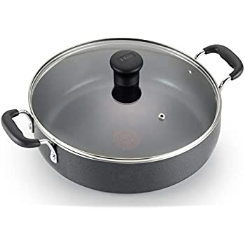 T-fal B36282 Nonstick Deep Covered Everyday Pan with Ergonomic Stay-Cool Handles Cookware, 12-Inch, Black