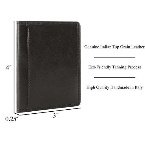 Leather Thin Black Perotti Holder Bifold Tony Italian Credit Card Wallet TwqExR